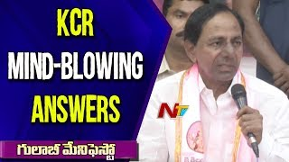 CM KCR Mind-Blowing Answers To Media Questions At TRS Bhavan | TRS Manifesto | NTV