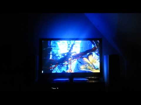 AmbiPi modified XBMC showing Avatar fire scene + Telldus Control, Raspberry Pi with custom PixelPi