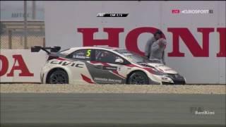 WTCC Qatar 2016 Q3 Michelisz Crash