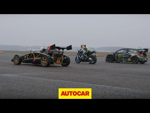 Ariel Atom V8 vs 600bhp rallycross Citroen DS3 vs BMW HP4 superbike drag race - autocar.co.uk