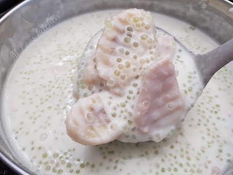 How To Make Taro, Banana Dumping In Coconut cream ນ້ຳຫວານເຜືອກກ້ວຍໃສ່ສາຄູ