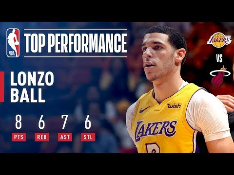 Lonzo Ball, 1st Lakers Rookie Since Magic Johnson in 1979 To Tally 4x6 (8 Pts, 6 Reb, 7 Ast, 6 Stl)