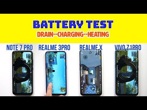 Realme X Battery Test: vs Vivo Z1Pro, Redmi Note 7 Pro, Realme 3 Pro | Charging Test | PUBG Heating