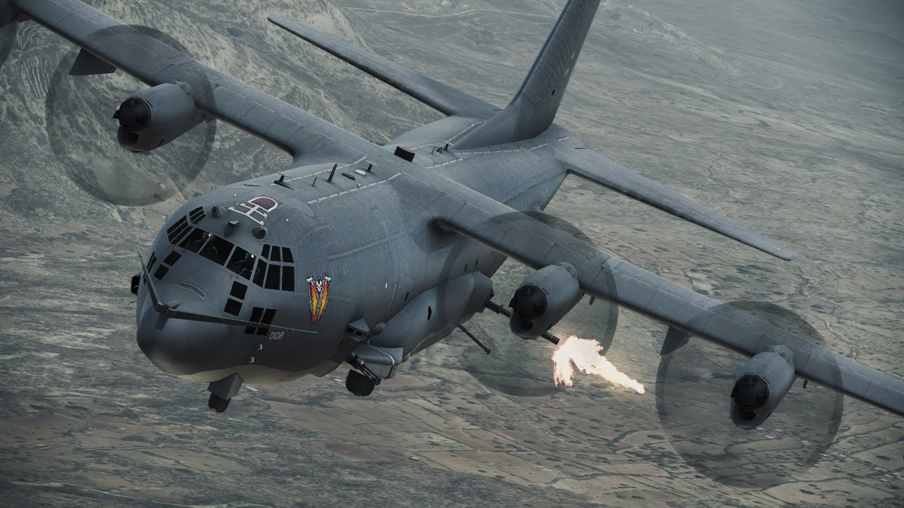 AC-130 Whiskey Gunship  C 130 Gunship Firing