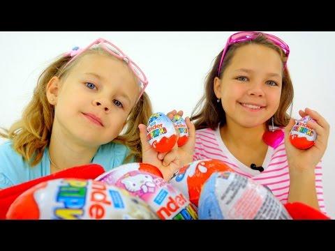 Киндер Сюрприз: игрушки Миньоны и Хелло Китти.