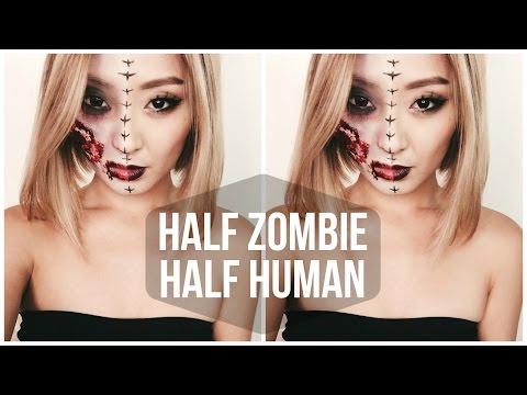 HALF ZOMBIE HALF HUMAN  HALLOWEEN TUTORIAL