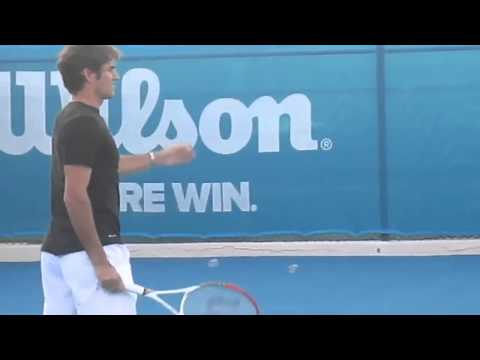 Rafael Nadal and Roger Federer practicing in Abu Dhabi World Tennis Championship 2013-2014