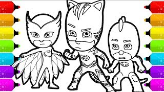 PJ MASKS Coloring Pages   How to Draw Catboy, Gekko and Owlette