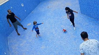 Kerem Plays Football inside a Big Empty Swimming Pool, Funny video for kids