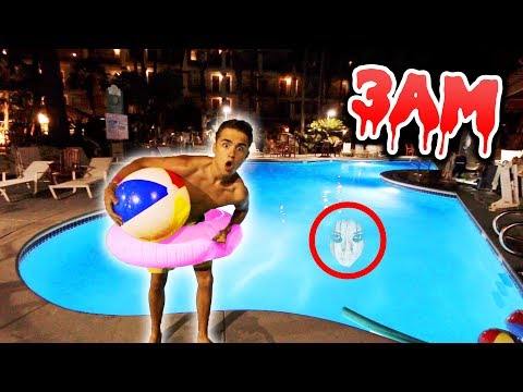 DO NOT JUMP INTO A POOL AT 3AM! (Scary 3AM CHALLENGE) *coolest security ever*