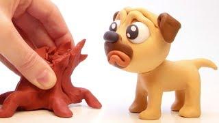 Doggie & tree 💕 Superhero Play Doh Stop motion cartoons for kids