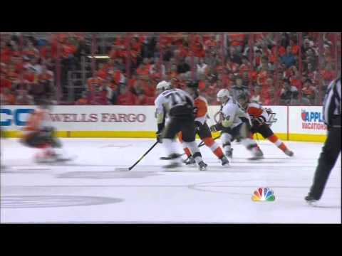 James Neal charge on Couturier. Pittsburgh Penguins vs Philadelphia Flyers 4/15/12 NHL Hockey