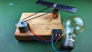 Solar Energy , Electricity Free Energy Generator With Light Bulb Using DC Motor