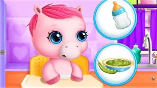 Pony Pet Care Games - Play Bathing, Change Diapers Dress Up & Feed Baby Horse - Funny Video Gameplay