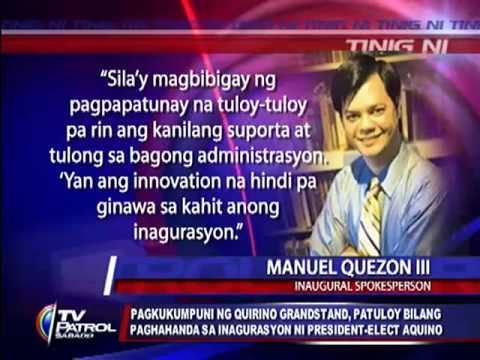 Abala pa rin ang mga manggagawa sa pagkukumpuni ng Quirino Grandstand sa Maynila para sa inagurasyon ni President-elect Noynoy Aquino. Hindi pa rin tiyak kun...
