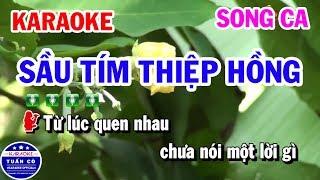 Karaoke Sầu Tím Thiệp Hồng || Nhạc Sống Song Ca Beat || Tuấn Cò Karaoke