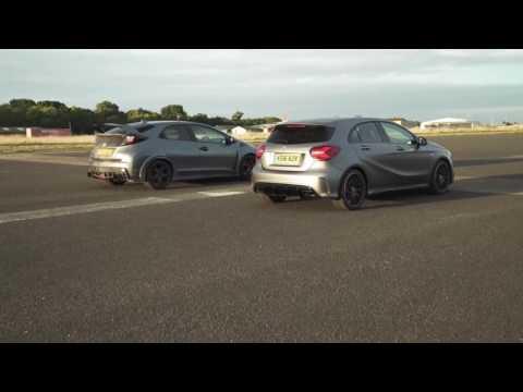 Mercedes A45 AMG vs Honda Civic Type R Drag Race   Mat Watson Reviews   YouTube 720p