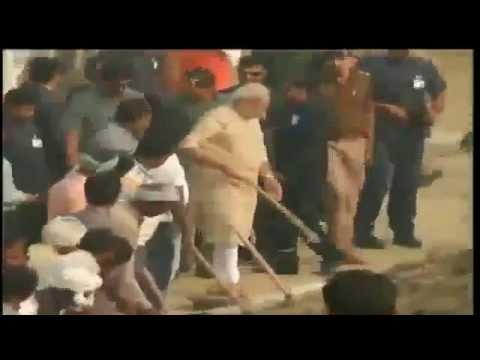 PM Shri Narendra Modi participates in cleanliness drive at 'Assi Ghat', Varanasi