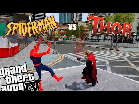 GTA 4 Spiderman 2 Mod + Thor Mod - Original Spiderman VS Thor