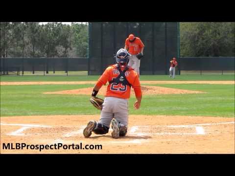 Bobby Doran, Houston Astros RHP warming up on the mound with Carlos Perez, Houston Astros C