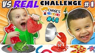 GUMMY vs. REAL FOOD CHALLENGE! LIVE Animals SCARES, PRANKS & FUN (Chase's Corner #48 DOH MUCH FUN)