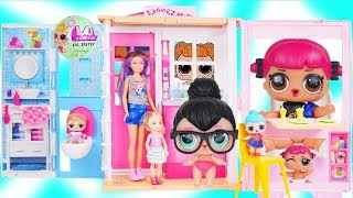 LOL Surprise Doll visit Barbie Skipper! Chelsea Morning Routine for Rainbow Bath Fizzy   Toy Video