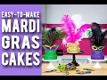 How To Make MARDI GRAS CAKES! Purple, Green & Gold Velvet Cakes With Festive Confetti & Feathers!