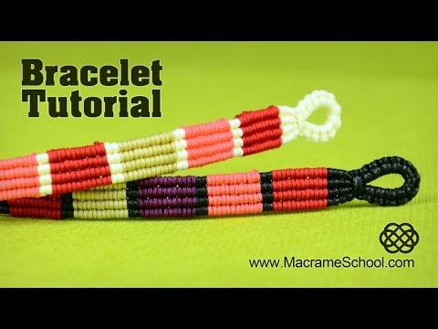 Colored Stripe Bracelet Tutorial by Macrame School