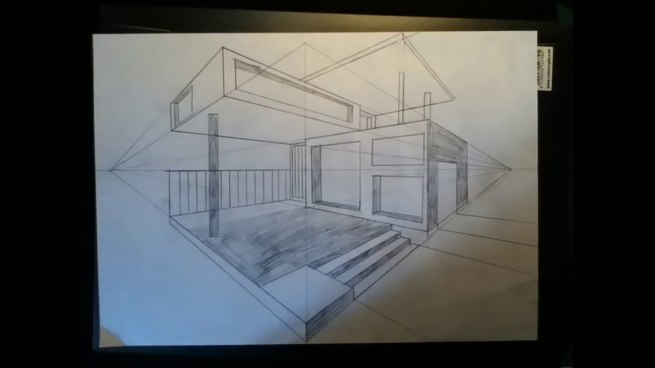 Irl tuto comment dessiner une maison en perspective for Interieure maison contemporaine