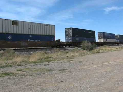 EB UPRR Container Train Passes Thru Alamogordo NM.wmv