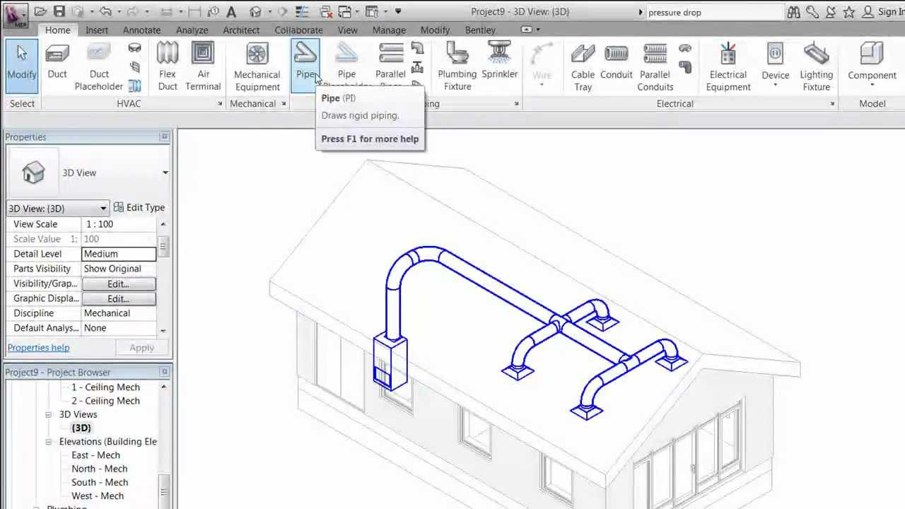 Revit Mep 2012 Session 5 Create Duct System Mp Youtube