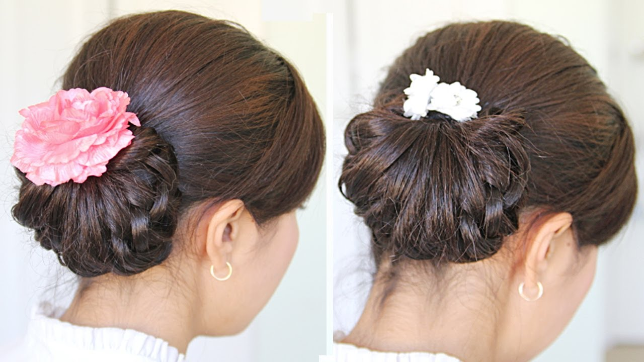 Homecoming Knotted Hair Bun Updo Hairstyle For Medium Hair