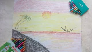 Drawing of nature and painting  painting of nature with poster colours and water colour pencils