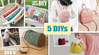 5 FANTASTIC DESIGNS DIY PURSE BAG & BACKPACK TUTORIAL // From Scratch Just Cut & Sew