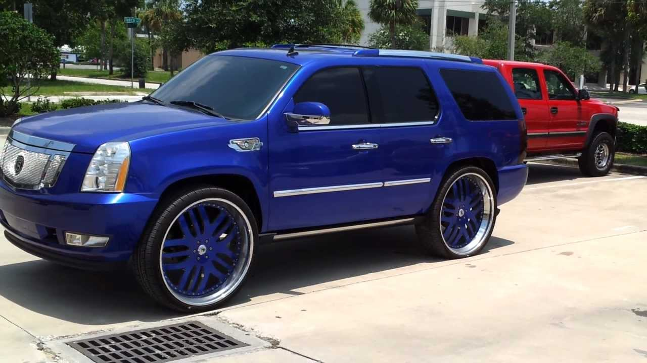 Candy Cobalt Blue Cadillac Escalade On 30 Quot Asantis Strut