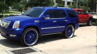 "Candy Cobalt Blue Cadillac Escalade on 30"" Asantis, STRUT Package"