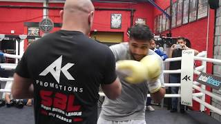 Amir Khan STILL GOT IT! Rapid-fire pads with new trainer Bones Adams