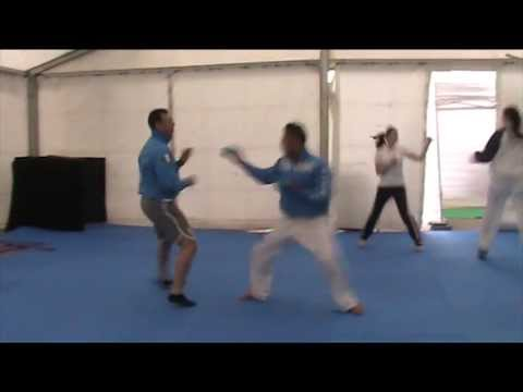 Warm-up before bronze medal match L.Busa (ITA) 48th European Karate Championships