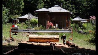 He's back at it again - Milling Dimensional lumber from Redwood logs with a Turbo Sawmill!