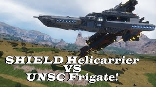 SHIELD Helicarrier VS UNSC Frigate - Space Engineers Epic Ship Battle -