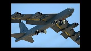 US Military puts a SHOW OF MILITARY POWER with the B-52 Military Aircraft