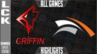 GRF vs HLE Highlights ALL GAMES   LCK Summer 2018 Week 1 Day 1   Griffin vs Hanwha Life Esports