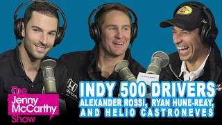 Indy 500 drivers Helio Castroneves, Alexander Rossi, and Ryan Hunter-Reay
