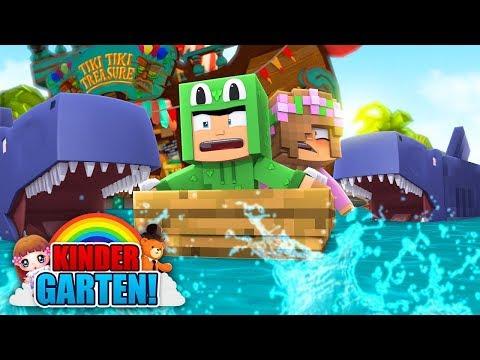 Minecraft Kindergarten - KIDS CHASED BY SHARKS! w/ Little Kelly