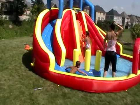 Banzai twin drop falls water slide and pool.MOD