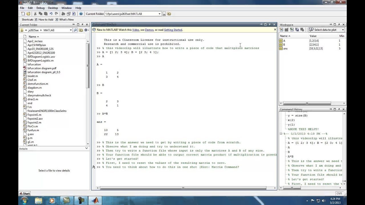 Matrix multiplication code from scratch using matlab youtube for Table 2 matrix matlab