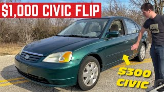 Can I MAKE $1,000 Flipping This Honda Civic In ONE Day?