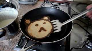 How to make pancakes in fun shapes for kids - Pancake bear - TUTORIAL