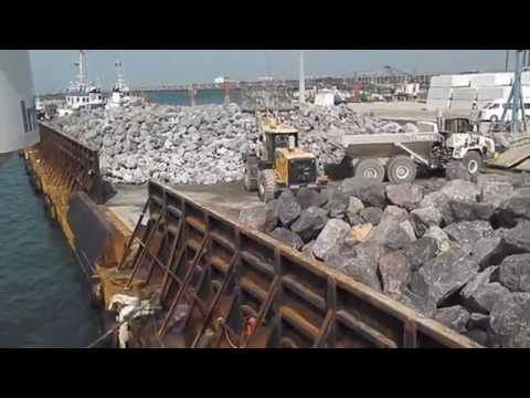 Towing BIG BARGE 10.000 TNS of STONES. NAVIEIRA JALISIA tugs. KUWAIT.PERSIAN GULF.