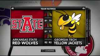 129 Team CPU vs CPU NCAA Football 14 Tournament - #16 Georgia Tech vs #17 Arkansas St Highlights